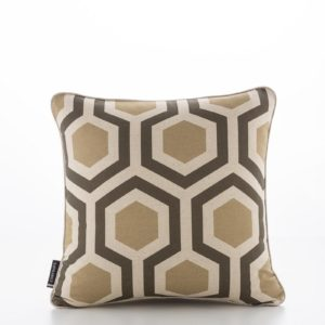 Geometric Hexagon Safari Shitake Cushion Cover (1)