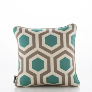 Geometric Hexagon Teal Walnut Cushion Cover (1)