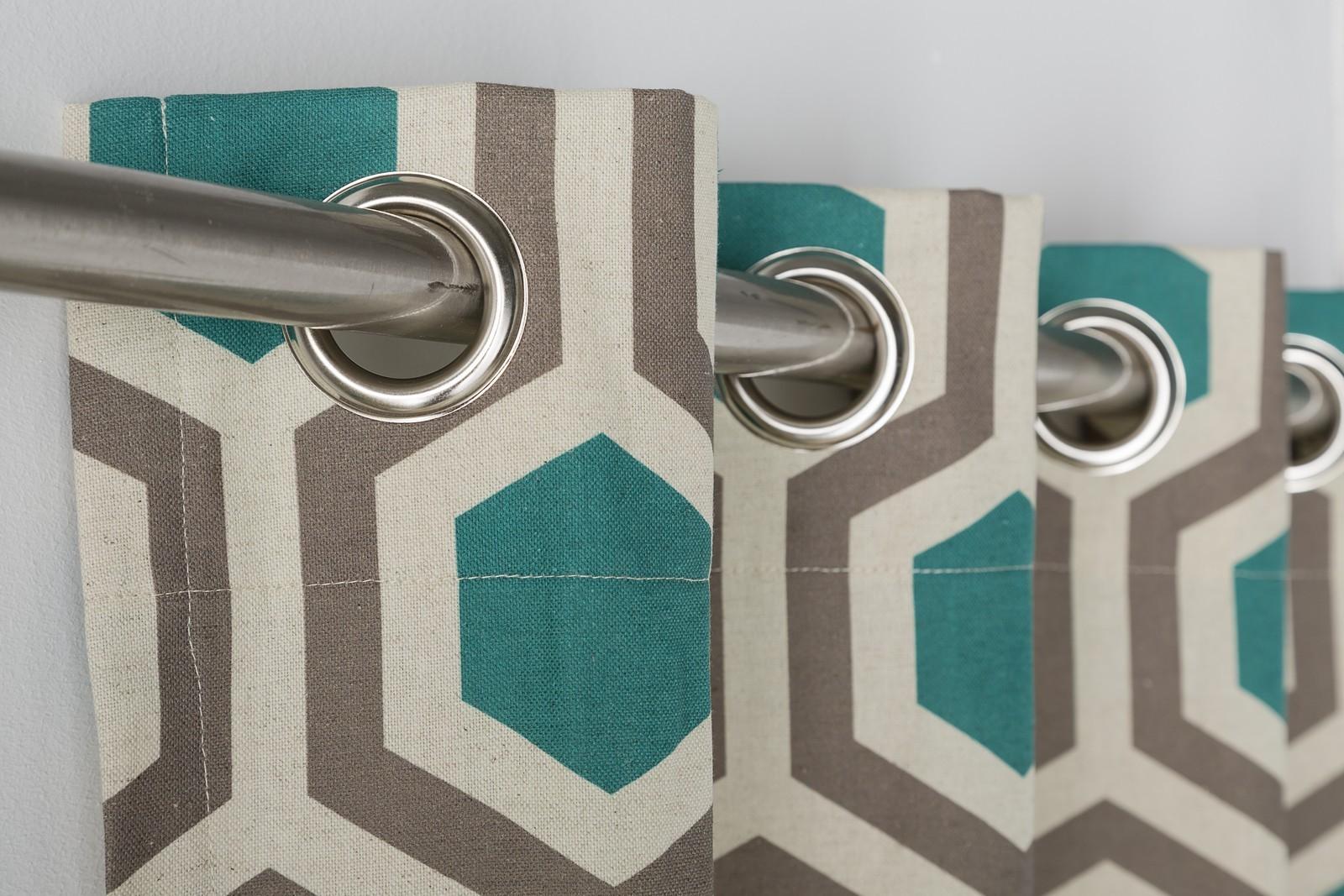 Geometrical Hexagon Teal Walnut Lined Eyelet Curtains