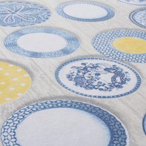 Retro Dishware Oilcloth Tablecloth Blue (2)