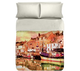 Old Portuguese Pier Duvet Set Digitally Printed