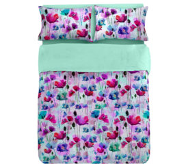Flowers Aqua Duvet Set Digitally Printed