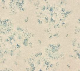 Cortinas con Ojales y Flores Azules French Vintage de Lino y Algodón