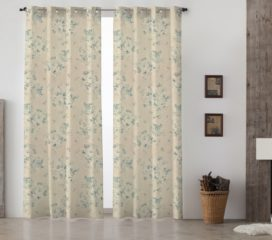French Vintage Grand Floral Blue Lined Eyelet Curtains