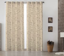 French Vintage Grand Floral Grey Lined Eyelet Curtains
