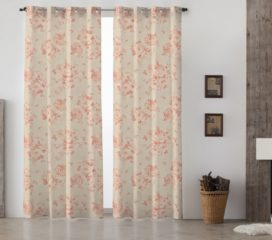 French Vintage Grand Floral Red Lined Eyelet Curtains