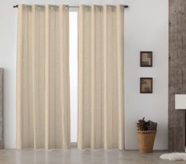 French Vintage Stripe Red Lined Eyelet Curtains