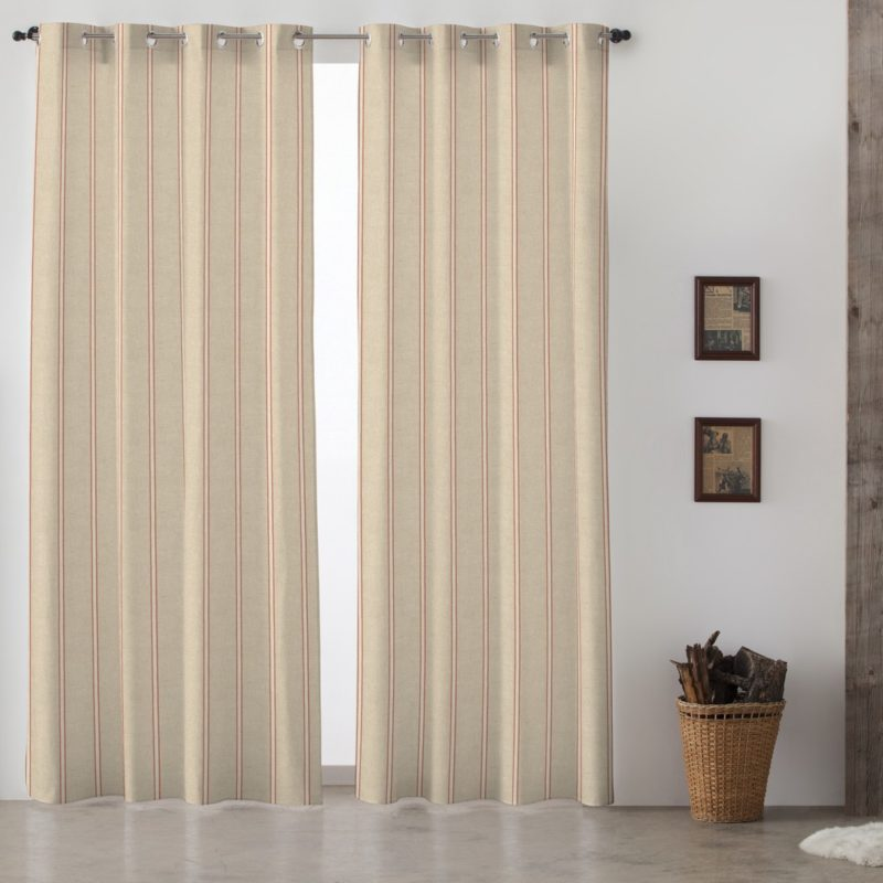Cortinas lino cortina con ollaos dalia lino granate cortina con ojales de lino lavado marrn cm - Tiendas de cortinas online ...