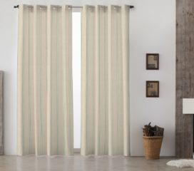 French Vintage Stripe Blue Lined Eyelet Curtains