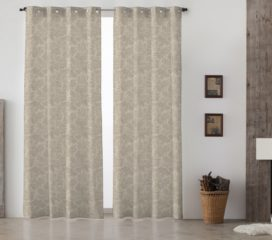 French Vintage Toile Grey Lined Eyelet Curtains
