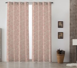 French Vintage Toile Red Lined Eyelet Curtains