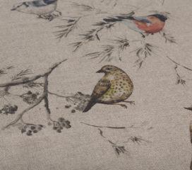 OILCLOTH TABLECLOTH CHINESE BIRDS ZEN BROWN