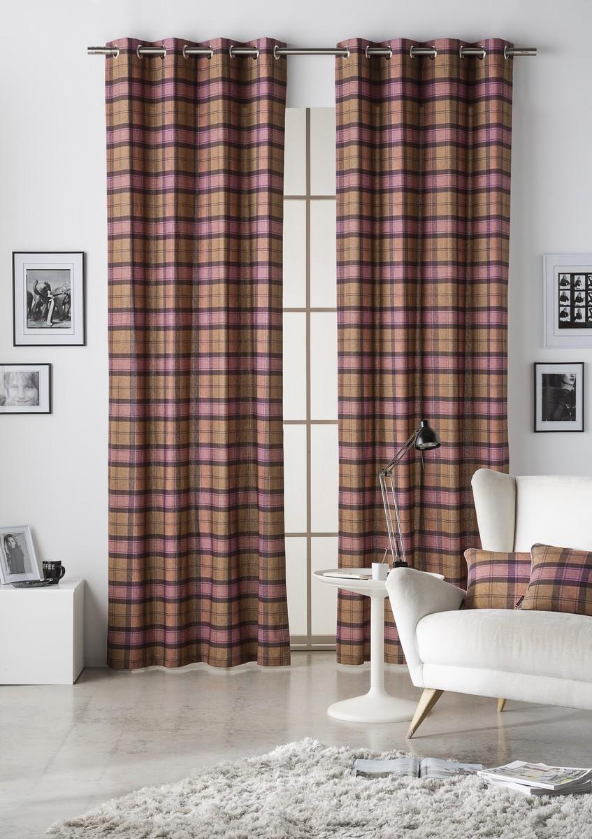 Tartan Burgundy Lined Eyelet Curtains 1