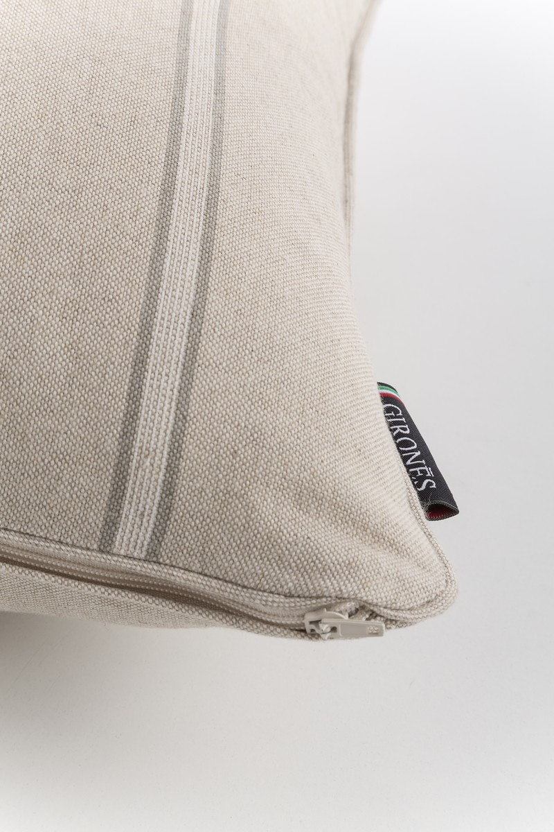 French Vintage Stripe Grey Cushion Cover