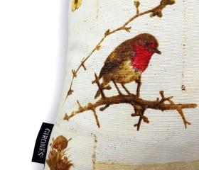 Funda Cojín Pájaros en Otoño