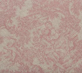 French Vintage Toile Red Oilcloth Tablecloth