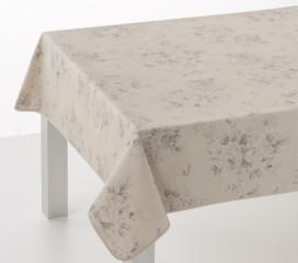 Grand Floral Grey Oilcloth Tablecloth