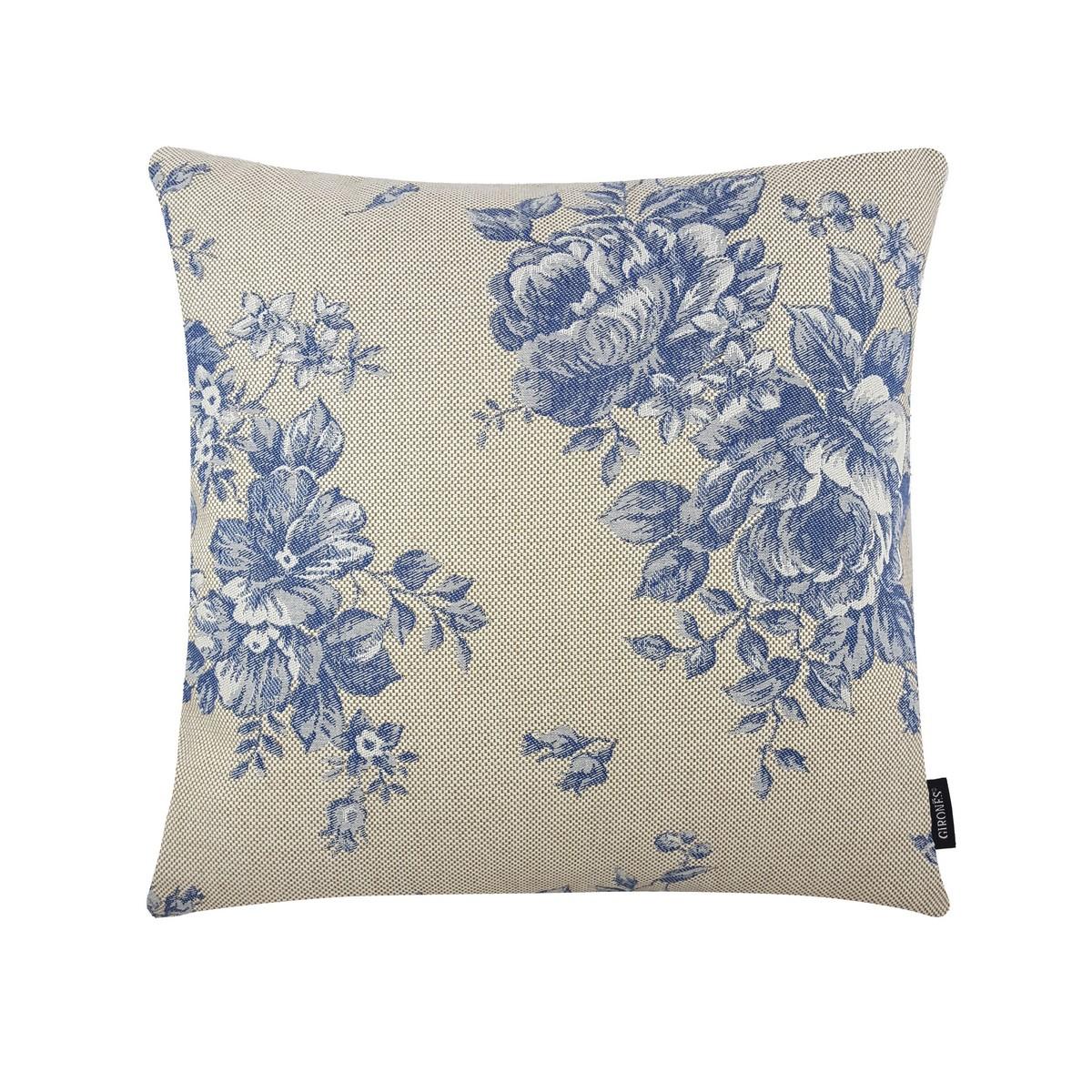 jacquard belle roses blue cushion cover. Black Bedroom Furniture Sets. Home Design Ideas