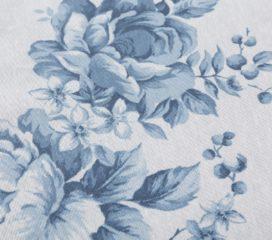 Mantel Antimanchas Resinado con Flores Azul Celeste CHRISTINA