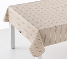 Vintage Stripe Red Oilcloth Tablecloth