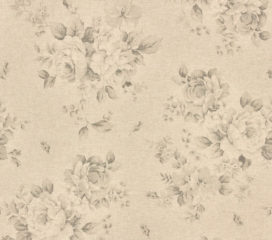 Cortinas con Ojales y flores Grises French Vintage de Lino y Algodón