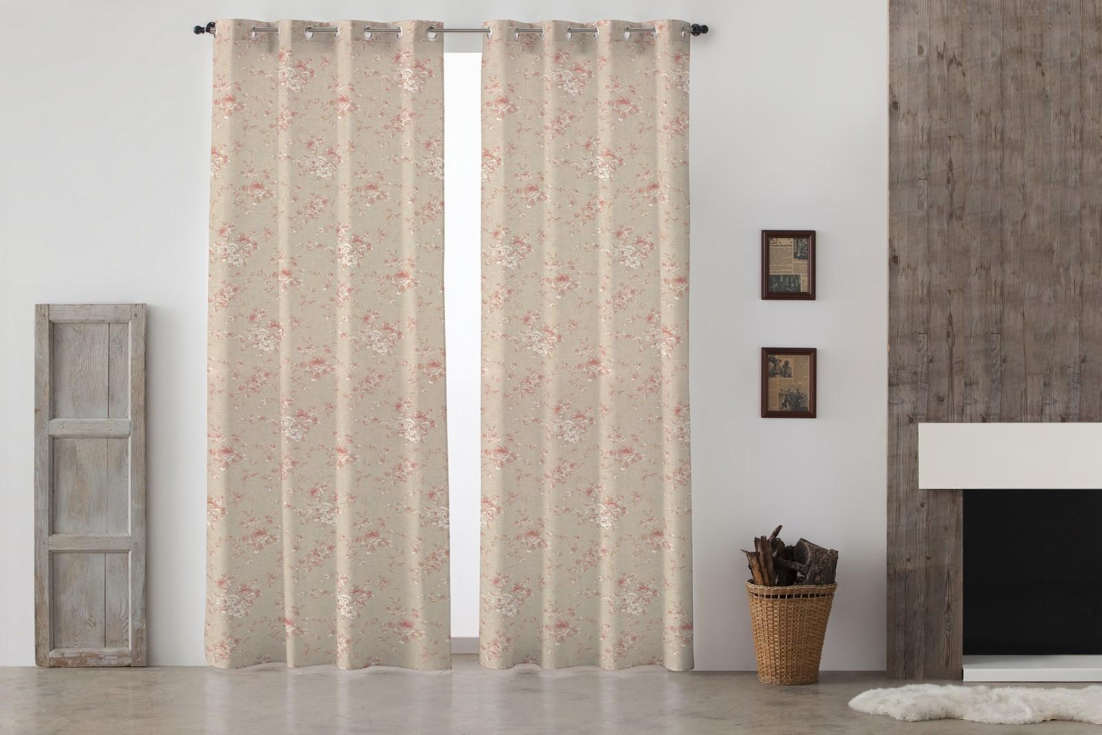 cortinas con ojales y flores rojas french vintage de lino y algodn - Cortinas Lino
