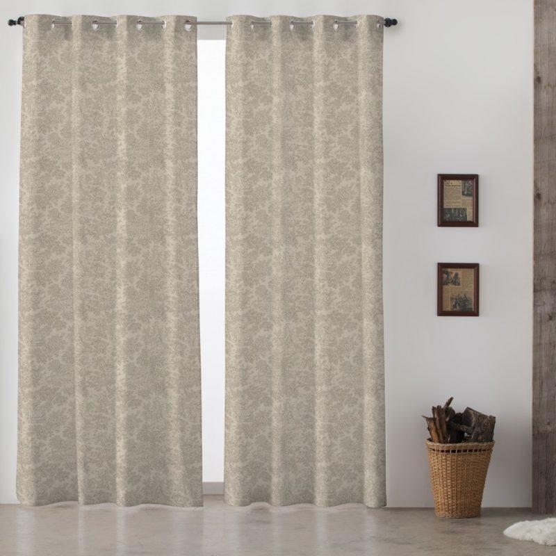 cortina con ojal gris french vintage de lino y algodn - Cortinas Lino