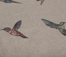 OILCLOTH TABLECLOTH HUMMINGBIRDS ZEN CREAM