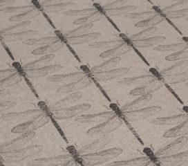 ZEN BLACK Dragonfly Natural Oilcloth Tablecloth