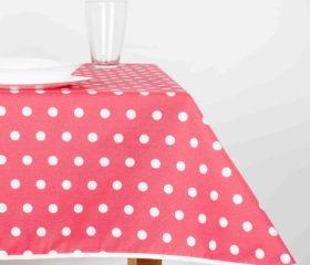 Mantel Antimanchas Resinado color Pomelo con Puntos Blancos
