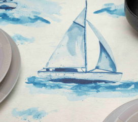 OILCLOTH TABLECLOTH SAIL WITH BLUE SAILBOAT