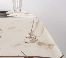 OILCLOTH TABLECLOTH SAILING BROWN STAIN REPELENT