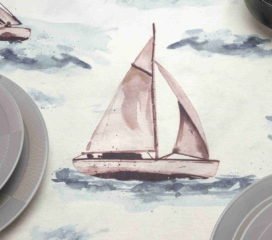 OILCLOTH TABLECLOTH SAILING GREY STAIN REPELENT