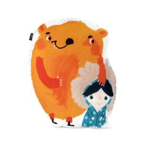 Girl and bear shaped cushion by GironesHome