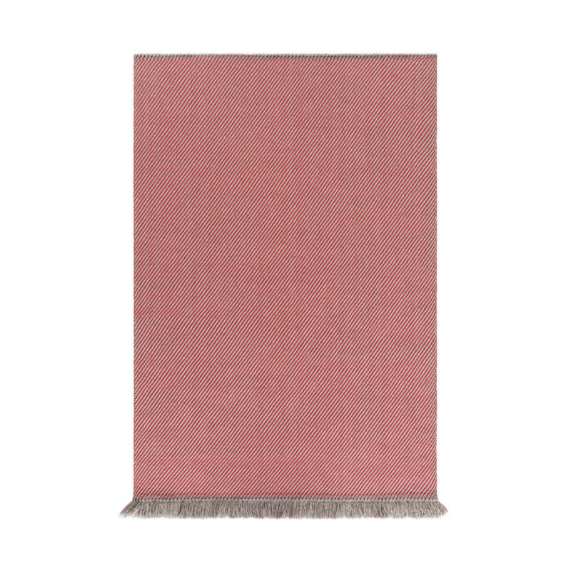 Garden Layers Diagonal Almond-Red Rug by Gan Rugs