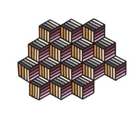 Alfombra Kilim Parquet Hexagon Naranja Pequeña de Gan Rugs