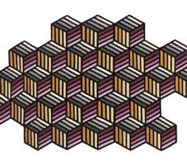 Alfombra Kilim Parquet Hexagon Naranja Grande de Gan Rugs