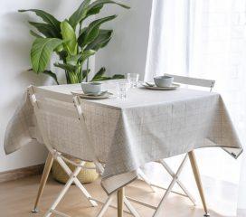 Oilcloth tablecloth VINTAGE TARTAN BROWN