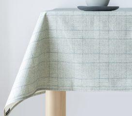 Oilcloth tablecloth VINTAGE TARTAN DUCK EGG