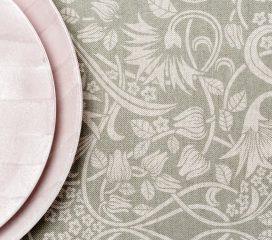 ZEN SCROLL Grey Oilcloth Tablecloth
