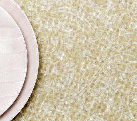 ZEN SCROLL Mustard Oilcloth Tablecloth